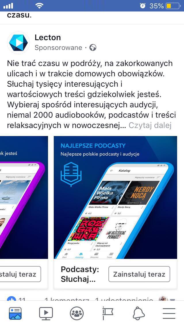 """Reklama Lecton, na zdjęciu napis """"Najlepsze polskie podcasty i audycje"""", poniżej okładki podkastów Mała Wielka Firma, Nerdy Nocą, Rozgrywka, Jak oszczędzać pieniądze."""